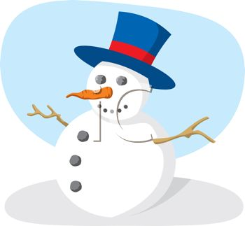 picture of  a snowman with a top hat, stick arms, carrot nose, and button eyes and mouth in a vector clip art illustration