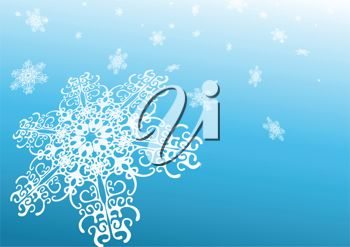 Picture of snowflakes on a blue background in a vector clip art illustration