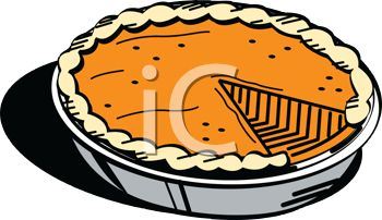 pictures of a fresh pumpkin pie with one missing piece in a vector clip art illustration