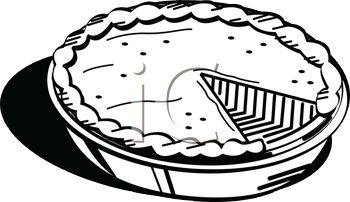 picture of a fresh pumpkin pie in black and white in a vector clip art illustration