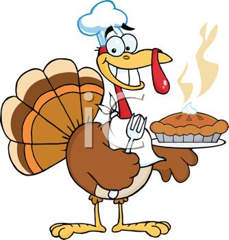 picture of a cartoon turkey holding a fork, wearing a knapkin around his neck, and holding a fresh hot pumpkin pie topped with whip cream in a vector clip art illustration