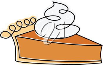 picture of a fresh piece of pumpkin pie topped with whip cream in a vector clip art illustration
