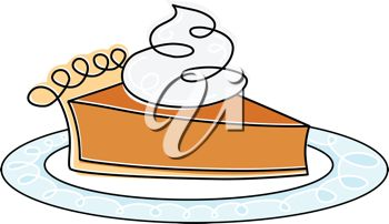 picture of a fresh piece of pumpkin pie on a plate topped with whipped cream in a vector clip art illustration