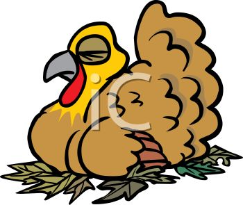 picture of a live turkey laying on leaves taking a nap in a vector clip art illustration