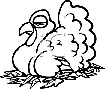 picture of a live turkey in black and white laying on a bed of leaves taking a nap in a vector clip art illustration