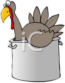 picture of a cartoon of a scared turkey sitting inside a pot ready to be boiled in a vector clip art illustration