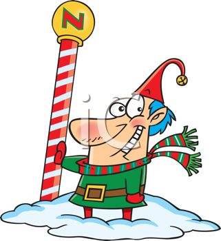 picture of one of santa's elves standing in the snow at the north pole in a vector clip art illustration
