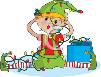 picture of one of santa's elves sitting on the ground with his legs out trying to untangle a string of Christmas lights in a vector clip art illustration