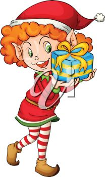 picture of a little girl elf holding a gift in a vector clip art illustration