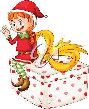 picture of a girl elf sitting on top of a wrapped gift and waving in a vector clip art illustration