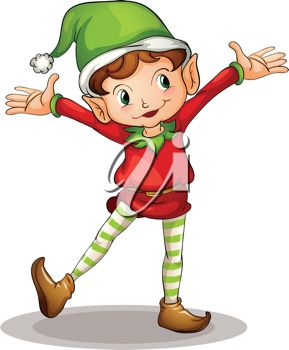 picture of a boy elf standing in a happy stance in a vector clip art illustration