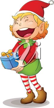 picture of a girl elf with a giant smile holding a Christmas gift in a vector clip art illustration