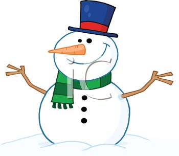 picture of a snowman dressed up sitting in a pile of snow in a vector clip art illustration