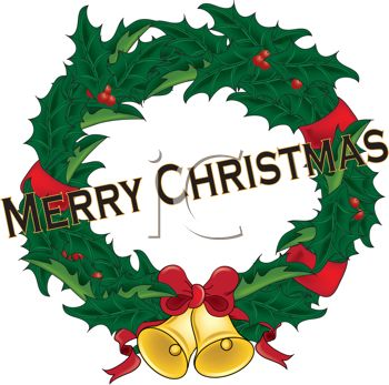picture of a christmas wreath with red ribbon, berries, and golden bells in a vector clip art illustration