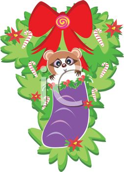 picture of a holiday wreath with candy canes, a red bow, and a racoon inside of a purple stocking in a vector clip art illustration