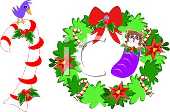 picture of a candy cane with a bird on top and a wreath with candy canes, a bow and a raccoon inside of a stocking