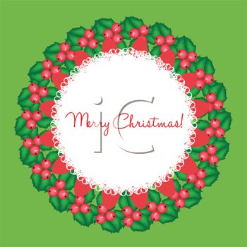 picture of a holiday wreath with a white lace center on a green background in a vector clip art illustration