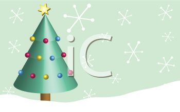 picture of a decorated christmas tree with snowflakes dropping in a vector clip art illustration