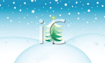 picture of a christmas tree on top of a snow hill on a snowy day in a vector clip art illustration