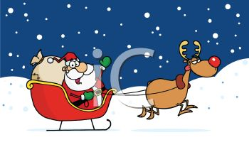 picture of Santa in his sled with rudolph pulling on a snowy day in a vector clip art illustration