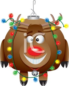 picture of a Christmas tree ornament of a frustrated reindeer with lights wrapped around him in a vector clip art illustration