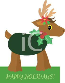 picture of a reindeer statue wearing holly berries in a vector clip art illustration