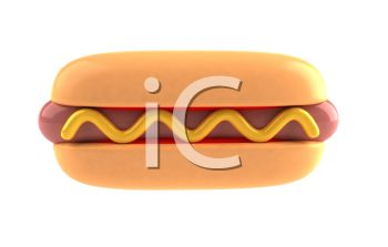 picture of a hot dog on a bun with mustard in a vector clip art illustration