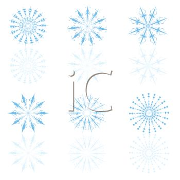 picture of blue colored snow flakes on a white background in a vector clip art illustration