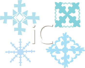 picture of four separate different shaped snowflakes on a vector clip art illustration