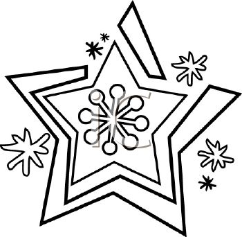 picture of snowflake in black and white in a vector clip art illustration
