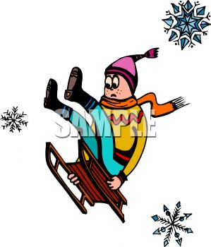 picture of a boy going down a snowy hill catching air on the way down with a scared face in a vector clip art illustration