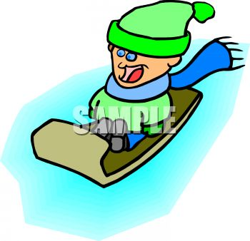 picture of a boy sliding down in a hill in his sled with an excited face in a vector clip art illustration