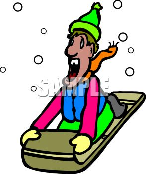picture of a man screaming as he sleds down a snowy hill in a vector clip art illustration