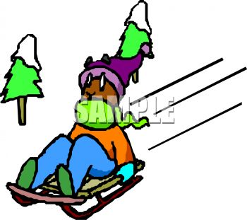 picture of a man sledding down a snowy hill in a vector clip art illustration