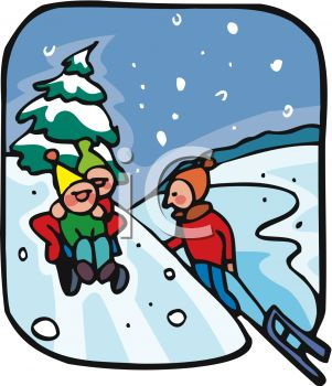 picture of children playing in the snow sledding down the snowy rh clipartguide com snow clip art free snow clip art background