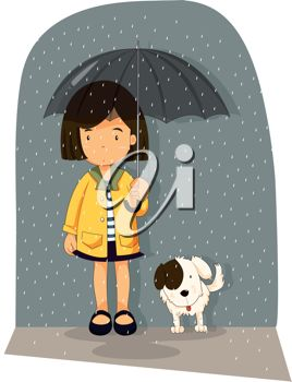 picture of a young girl and her dog standing in the rain under an umbrella in a vector clip art illustration