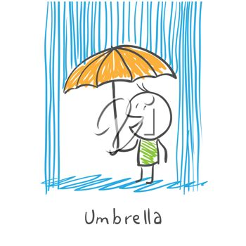 picture of a man holding an umbrella, and singing in the rain in a vector clip art illustration