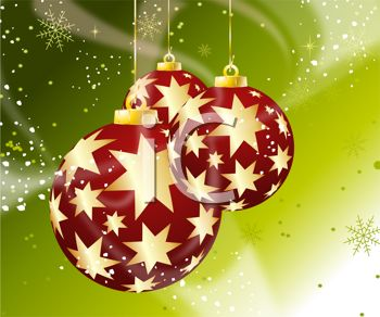Picture of red christmas balls with gold stars on a green snowy background in a vector clip art illustration