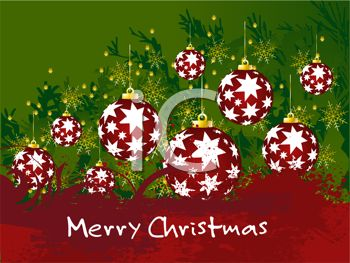 picture of red christmas balls with stars on a green christmas background in a vector clip art illustration