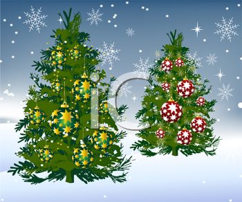 picture of decorated christmas trees on a snowy background in a vector clip art illustration