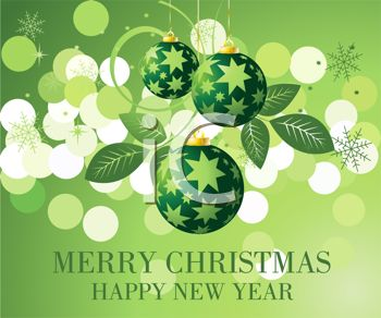 picture of christmas balls On a green snowy Merry Christmas and Happy New Year in a vector clip art illustration
