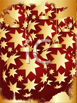 picture of  christmas decorations with gold stars in a vector clip art illustration