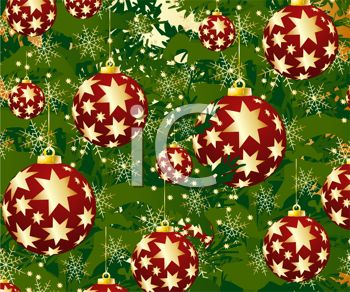 picture of red Christmas balls with Gold Stars in a vector clip art illustration