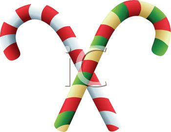 picture of two criss crossed candy canes on a white background in a vector clip art illustration