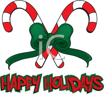 picture of two criss crossed candy canes with a green bow with a happy holidays banner in a vector clip art illustration