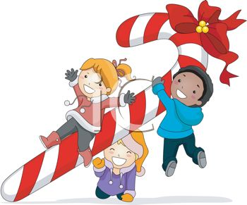 picture of happy kids carrying a candy cane with a red bow in a vector clip art illustration