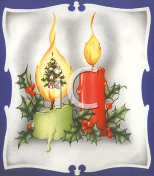 picture of burning candles in a holiday wall scene in a vector clip art illustration