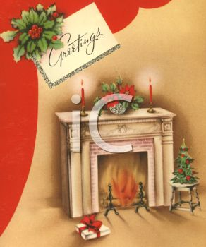 picture of a holiday scene with a fireplace burning and burning candles in a vector clip art illustration