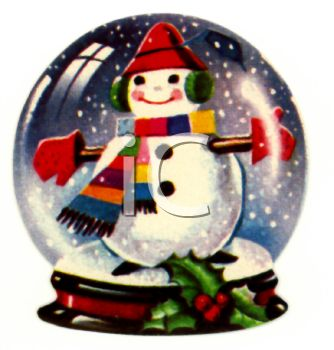 picture of a snowman snow globe in a vector clip art illustration