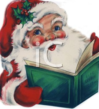 picture of a Santa reading a christmas book in a vector clip art illustration